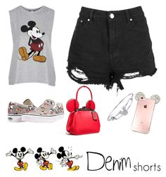 """Mickey"" by alexia911 ❤ liked on Polyvore featuring Topshop, Coach, Vans, Disney, jeanshorts, denimshorts and cutoffs"