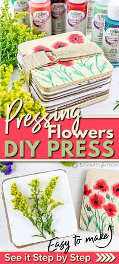Pressing Flowers - How to Make a DIY Flower Press #ad #flowerpress #pressingflowers #springcraft #diy #springDIY #craftpaint