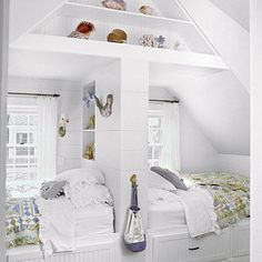 In this Nantucket cottage, built-in double beds make for a cozy kids' bedroom or charming guest room. Coastalliving.com