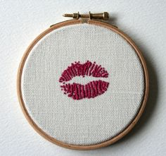 hot pink lips in stitch.
