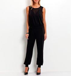 Combi-pantalon Grain de malice. Jeux de découpes transparents. Ceinture à nouer.   #black #smart #femme #fashion Jumpsuit, Dresses, Woman Clothing, Gaming, Fashion Ideas, Womens Fashion, Catsuit, Gowns, Playsuit