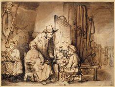 Rembrandt, Studio Scenne With Sitters, 1650 Rembrandt Etchings, Rembrandt Drawings, Dutch Painters, Amazing Drawings, Dutch Artists, Chiaroscuro, Art Graphique, Gravure, Jasper Johns