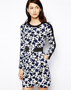 Image 1 of Warehouse Floral Sleeve Elastic Waist Dress