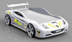 Der weiße Rennwagen vom Typ Cobra für Kinder als Bett.