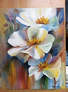 Beautiful white flower painting could be done in watercolor. Acrylic or oil painting. Beautiful white flower painting could be done in watercolor. Acrylic or oil painting. Acrylic Flowers, Oil Painting Flowers, Abstract Flowers, Acrylic Art, Acrylic Painting Canvas, Watercolor Flowers, Painting & Drawing, Watercolor Art, Diy Canvas