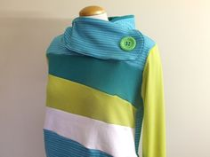 TIPSY TEAL - Hoodie Sweatshirt Sweater - Recycled Upcycled - One of a Kind Women - LARGE. $68.00, via Etsy.