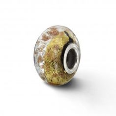 Verano 14mm Silver, Black & Gold Glass Bead