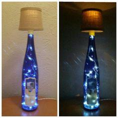 Blue wine bottle lamp