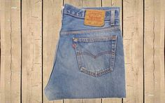 Vintage Levis 501 Mens Jeans Straight Leg Button Fly USA Made Faded Blue W35 L32 by BlackcatsvintageUK on Etsy