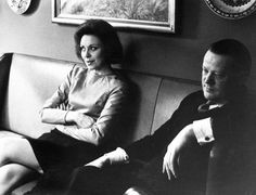 Danish Prime Minister Jens Otto Krag and wife Helle Virkner in 1968. Krag worked hard during the day and drank and chased women during nights. He even brought his mistresses home to the family. John Kennedy was a choir boy in comparison, and Krag's dissolute lifestyle was beginning to show in his face at this point. I think the cool sofa may be designed by either Kaare Klint or Børge Mogensen. It will set you back approximately 15,000 dollars from new.