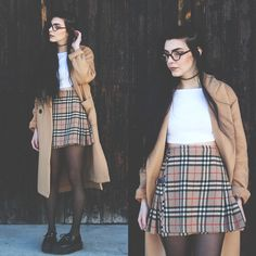 Front Row Shop Coat, Freyrs Glasses, Burberry Vintage Skirt