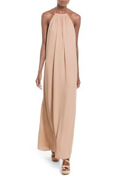 Everly High Neck Maxi Dress (Beige) | Nordstrom