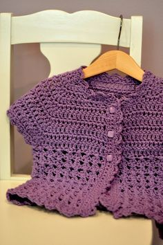 Crochet this lavender Cap-sleeved cardigan for Miss A (tips)