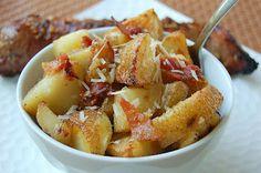 Souffle Bombay: Roasted Potatoes with Bacon & Parmesan #PotatoGoodness