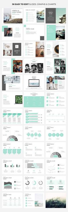 Simple infographic PowerPoint template with customizable color theme. Smart Art is easily editable to add your own content to the graphics and charts. Great option as a lookbook, startup pitch deck, or business presentation.