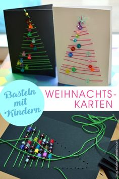 Handicraft instructions for graphic Christmas cards: Advent handicrafts .- Bastelanleitung grafische Weihnachtskarten: Advents-Basteln mit Schulkindern Crafts with children: embroider or sew Christmas cards with pearls - Diy Christmas Cards, Christmas Crafts For Kids, Christmas Art, Holiday Crafts, Christmas Gifts, Christmas Ornaments, Holiday Decor, Childrens Christmas Card Ideas, Handmade Christmas