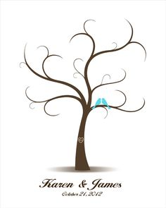 DIY Wedding Tree Guest Book with Love Birds - Printable PDF - Digital Fingerprint Signature Tree 16x20, 17x22, 18x24, 20x25, 24x30, 30x40. $18.00, via Etsy.
