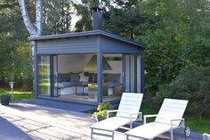 Huone1 piharakennukset | Kalliolle kukkulalle Backyard Studio, Backyard Sheds, Backyard Patio Designs, Backyard Retreat, Shed Design, House Design, Outdoor Spaces, Outdoor Living, Garden Cabins