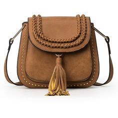 SheIn(sheinside) Braided Tassel Trimmed Studded Saddle Bag - Brown (56 BAM) via Polyvore featuring bags, handbags, bolsa, purses, studded purse, brown hand bags, handbags purses, vintage handbags i studded handbags