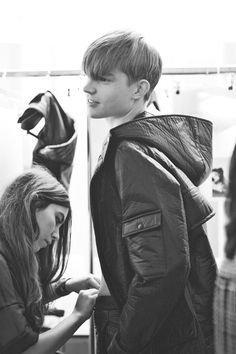 Backstage at J.W. Anderson AW12, London Fashion Week. Timothy Kelleher at D1 by Cecilie Harris.