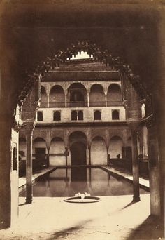 Alphonse De Launay - View of the Alhambra, Great Courtyard in Front of Ambassador's Hall, 1854