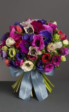 mixed anemone bouquet by wildatheart.com