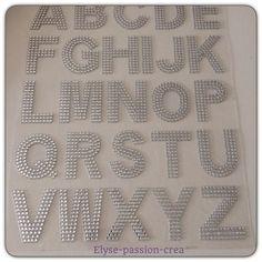 grande plaque de 26 lettres strass autocollant argenté : Embellissements par elyse-passion-crea