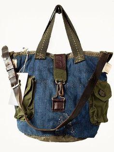 ~Denim handbag~green pockets~leather belt shoulder hanger~