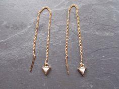 Marble Threader Earrings, Gold Thread Earring,Marble Dangle Earring, Geo Marble Earring, White Marble Earrings, Triangle Earrings,