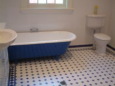 Royal Blue bath with blue (attached legs ) and white interior