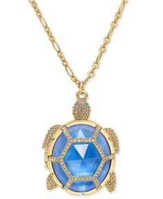 kate spade new york Gold-Tone Glass Stone Turtle Locket Pendant Necklace - Jewelry & Watches - Macy's