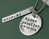 LDS Missionary Tag -Hand Stamped Sterling Silver Tag and Disc - Inspirational Jewelry - Mormon Elder Sister