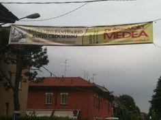 Striscione pubblicitario per l'operazione raccolta fondi per il Restauro Santuario Santo Crocifisso Meda
