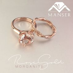Rose gold diamond engagement ring with twisted diamond matching wedding band.
