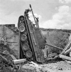 Some older bridges would collapse under the weight of tanks like this Panther V.