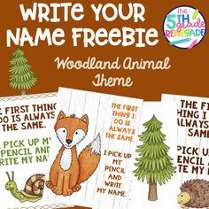 Write Your Name FREEBIE Woodland Animal Theme by The 5th Grade Renegade Reading Genre Posters, Reading Genres, Woodland Animals Theme, Woodland Creatures, Commonly Confused Words, Types Of Sentences, Your Name, Classroom Themes, Language Arts