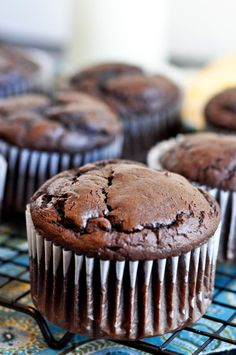 Giant Chocolate Muffins | made with fudge cake mix, chocolate pudding, sour cream
