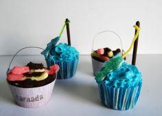Cupcakes de vainilla y chocolate con tema de pesca / fishing party cupcakes