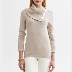 Banana Republic Button Neck Sweater 100% Cotton | Color: White | Like New | Size: Small Banana Republic Sweaters