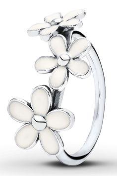 Darling Daisies Ring in White Enamel