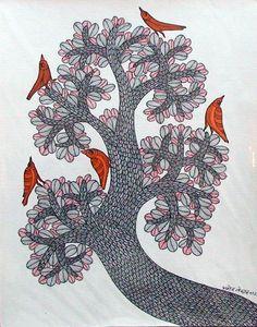 by Manoj Tekam, Gond art Indian Folk Art, Indian Artist, Mural Painting, Mural Art, Kalamkari Painting, Madhubani Art, Madhubani Painting, India Art, Indigenous Art