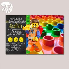 Emmet Lego Inspired Birthday Party Card Digital Invitation Kid Birthday Party…