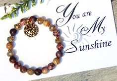You Are My Sunshine Gift Card and Boho Sun Charm Red Beaded Gemstone Bracelet - Wedding bracelets (*Amazon Partner-Link)