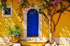 travelthisworld: a blue door Kefalonia, Greece Cool Doors, Entry Gates, Beautiful Streets, Window View, Door Knockers, Doorway, My Sunshine, Windows And Doors, Shades Of Blue