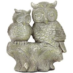 Owl statuette with a warmly weathered gray finish.   Product: StatuetteConstruction Material: Fiberstone...