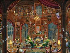 Sanctuary of Knowledge by Ravensburger - 300 Piece Large-format puzzle - Artist: Randal Spangler Cross Stitch Books, Cross Stitch Art, Cross Stitching, Cross Stitch Patterns, Stitching Patterns, Print Patterns, Fantasy Places, Fantasy World, Fantasy House