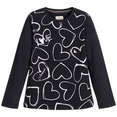 Armani Junior - Girls Navy Blue T-shirt with Silver Logo Print  