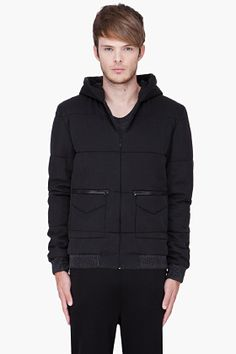 T By Alexander Wang Black Hooded Chambray Jacket for Men | SSENSE