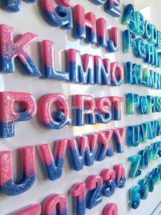Diy Resin Projects, Diy Resin Art, Diy Resin Crafts, Diy Resin Keychain, Alphabet Magnets, Bookmark Ideas, Letter Set, Montessori Toys, Colour Inspiration