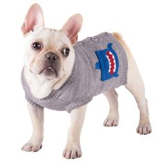 8-Inch Length Fab Dog Knit Turtleneck Dog Sweater Squirrel Cream